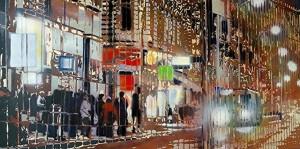 Barakonyi Zsombor: East Flow, Budapest (2013) acrylic on wood panel, 75x150x3,5 cm