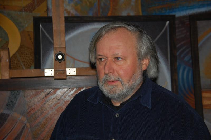 Pirk László festőművész műtermében