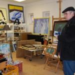 Lukács Tibor festőművész műtermében